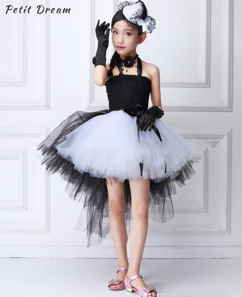 Petit Dream Halloween Cosplay Kid Girls Dress with Train Tulle Black and White Zombie Cos Children Kids Costume Girls Tutu Dress halloween children kids girls witch costume tutu tulle fancy dress set pudcoco halloween kid girl cosply show dress set