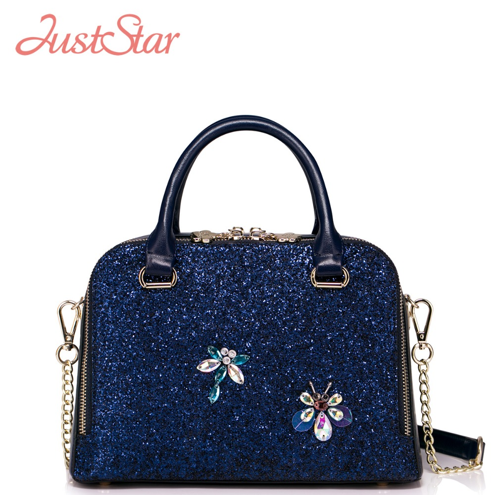 JUST STAR Women PU Leather Handbags Ladies Fashion Diamonds Leather Tote Bags Girl's Brand Crossbody Bags High Quality J061 just star women s pu leather handbags ladies fashion rivet tote bags female cat cute messenger bags brand high quality jz4227