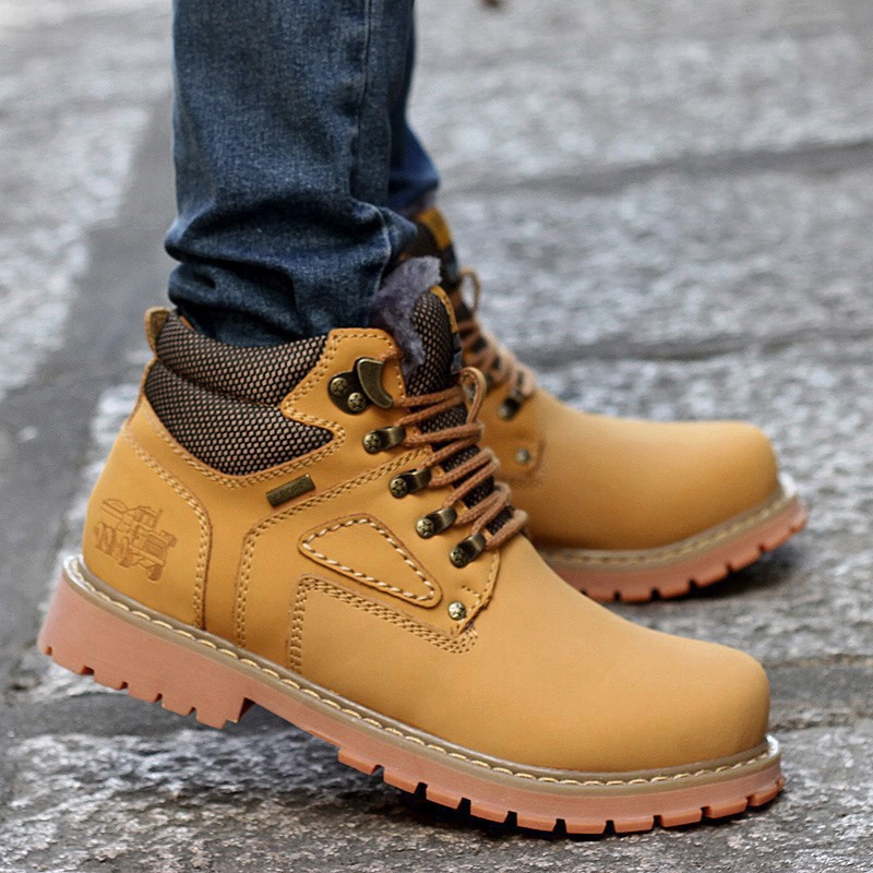 URBANFIND Lace-Up Men Fashion Boots EU 38-44 Durable Rubber Sole Man Nubuck Leather Ankle Shoes Brown / Yellow 3