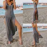 2019 Sexy Sheer Net Mesh Knitted Tunic Beach Cover Up Cover-ups Long Beach Dress Beach Wear Beachwear Female Women