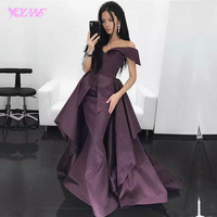 YQLNNE Sexy Off the Shoulder Long Evening Dress Mermaid Purple Satin Zipper Back Sweep Train Vestido De Festa