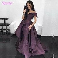YQLNNE Sexy Off the Shoulder Long Evening Dress Mermaid Purple Satin Zipper Back Sweep Train Vestido De Festa