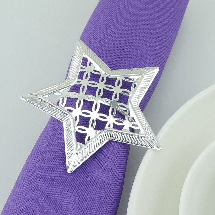 10ks / lot Doprava zdarma kovové pentagramové kroužky na ubrousky, stříbrný držák na ubrousky, spona na ubrousky hotel svatební dekorace na stůl