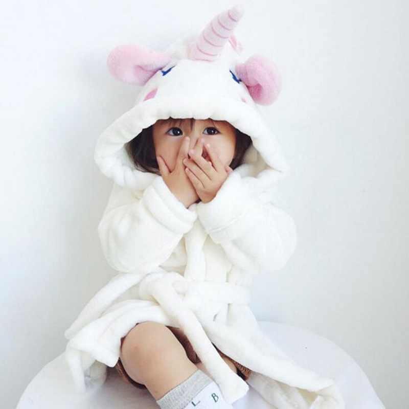 43e66f9fad3b0 ... Girls Unicorn Bathrobe Hooded Dressing Gown Cartoon Animal Flannel Sleepwear  Nightwear Towelling Bath Rope for Kids ...
