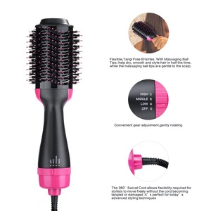 Image 5 - UK warehouse professional Hair blow Dryer Brush 2 In 1 Hair straightener Curler With Comb Hair Brush Roller