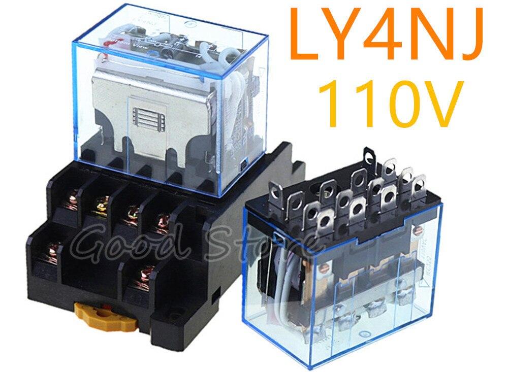 LY4NJ HH64P AC DC 110V 14PIN 10A 1 unité | Bobine de relais puissance, en argent, contact, 4PDT, avec Base de prise de courant