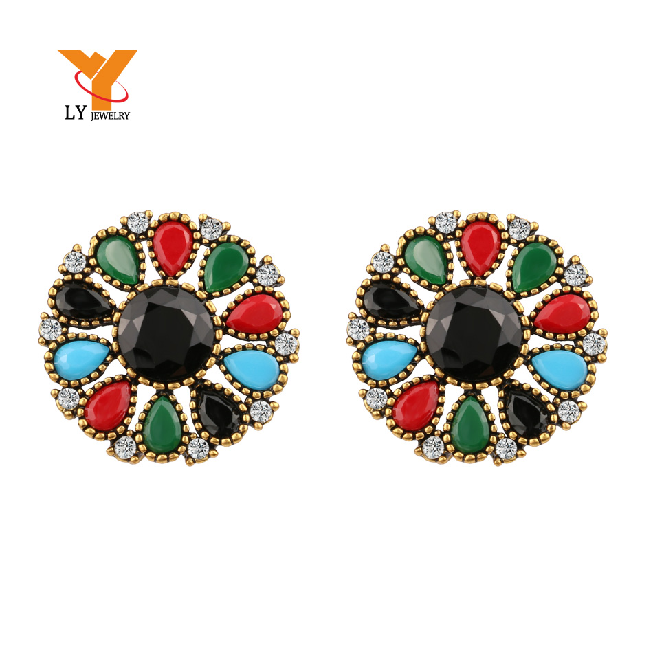 Furniture Precise Turkish Jewelry Big Flower Crystal Drop Earrings For Women Tibetan Alloy Multicolor Resin Accessories Para Mulher Online Discount