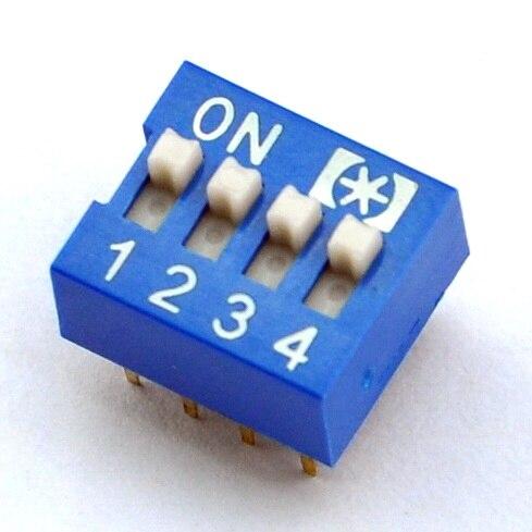 ( 100 Pcs/lot ) 4 Way DIP Switch, 4 Position 8 Pin PCB Mountable.