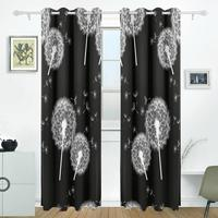 Flowers Dandelions Curtains Drapes Panels Darkening Blackout Grommet Room Divider For Patio Window Sliding Glass Door