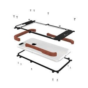 Image 2 - R just etui na iPhone 7 8 Plus, odporna na wstrząsy obudowa z drewna metalowa rama zderzak pokrywa dla iPhone 8 6 6S Plus 5 5S SE obudowa aluminiowa