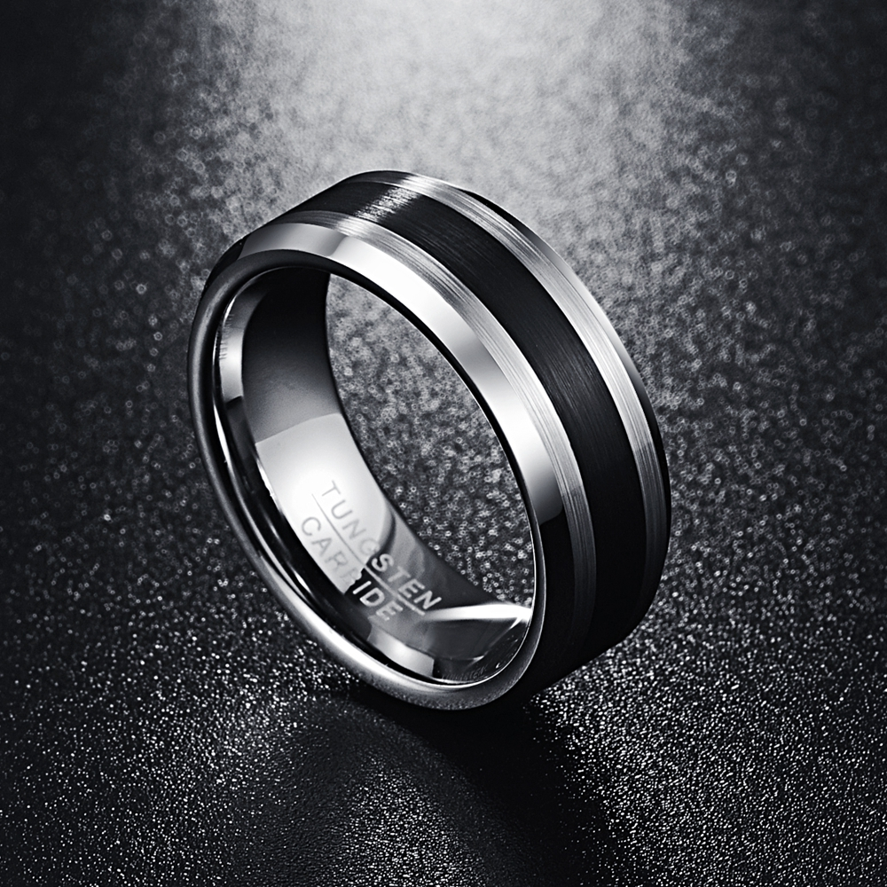 NUNCAD Mens 8MM Tungsten Ring Brushed Finish and Black Center Beveled Edge Size 5 to 14