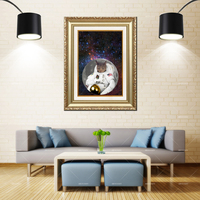 72a784937 Artcozy Golden Frame Abstract Space UK Cat Waterproof Canvas Painting
