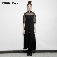 Goth Small Stand Collar Silk Embroidery Half Sleeve Royal Fairy Dress Punk Rave pq151