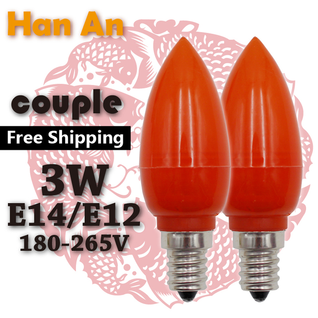 AC180V 260V E14 E12 Red Plastic Mammon Lamp God Lamp Candle Bulbs Buddha  Bulb Pilot