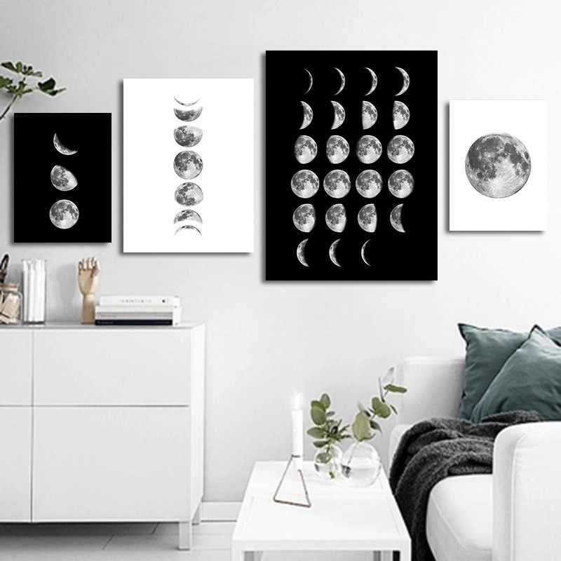 Modern Kanvas Seni Minyak Bulan Lukisan Poster Kopi/Dapur/Ruang Tamu Dekorasi Kertas Stiker Dinding Bulan 4 pcs Dibingkai