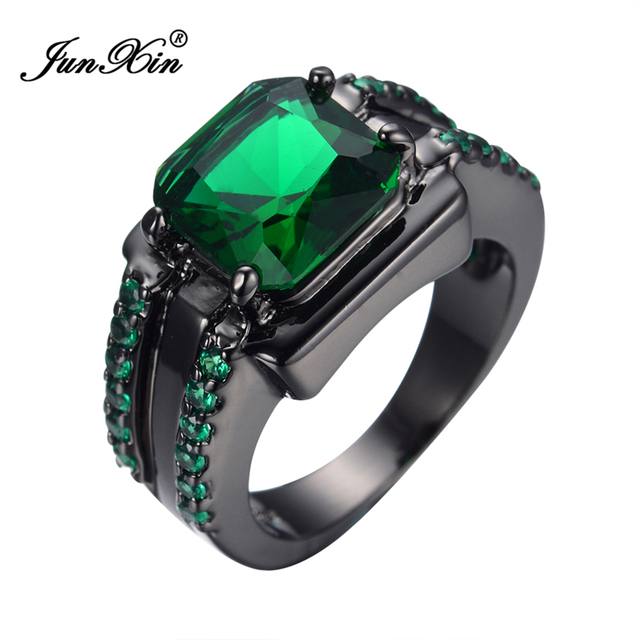 Junxin Hot Fashion Green Geometric Ring Square Design Black Gold Filled Vintage Wedding Rings For Women