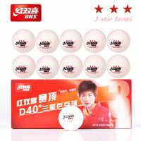 DHS 3 étoiles D40 + balles de tennis de Table 3 étoiles nouveau matériau cousu ABS plastique balle de ping-pong poly