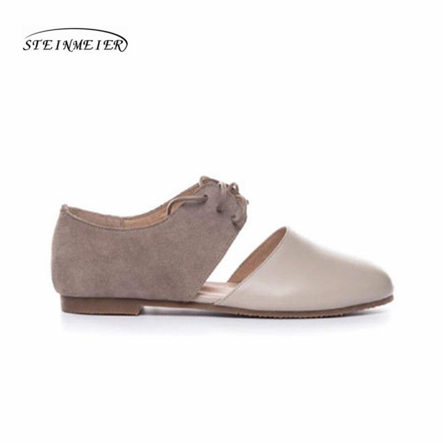 Frauen flach sommer sandalen schuhe handgemachte beige vintage Retro grau leder runde kappe lässig süße bequeme sandalen schuhe-in Flache Damenschuhe aus Schuhe bei  Gruppe 2