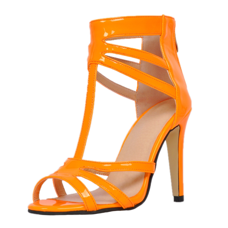 Orange Pu Patent Leather T-Strap Summer Shoes Women Sandal Super High Heels Open Toe Runway Shoes Rihanna Sandals Ladies loslandifen new ankle strap women sandals casual patent leather red high heels shoes open toe lady summer sandal mujer sandalias