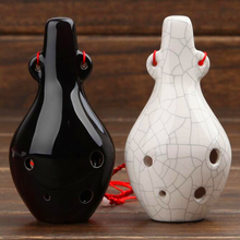 2017 New AC 6 Hole Ocarina Key of C Mini Ceramic Flute 2 Colors Pocket music instrument Alto Ocarina for music lover