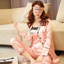 Women Satin Silk Pajamas Set Shorts&trousers Comfortable Home Service Set Eyelashes Curved Eyes Blink Pajamas Silk Women 4 Suit