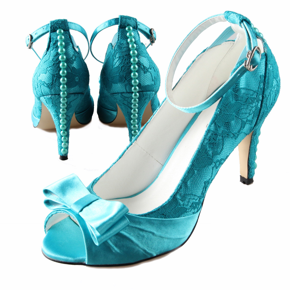 handmade peacock blue teal turquoise pearl with bowknot open toe bridal wedding party evening dress shoes