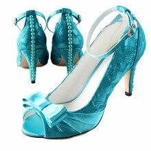 Handgemachte pfau blau teal türkis perle mit bowknot offene spitze braut hochzeit abendkleid schuhe knöchelriemen große größe