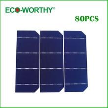 80pcs 6×2 Solar Cell Kits Mono Monocrystalline Silicon Solar Cell 156*58.5mm Photovoltaic Cell Solar for DIY Solar Cell Panel