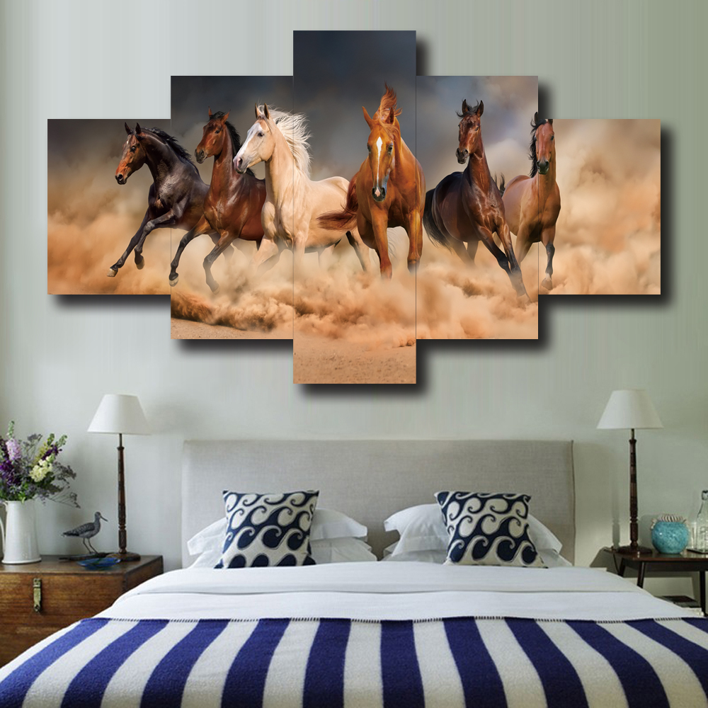 HD Print Modern Pop Design 5 Pcs Take Lead Horse Animal Colorful Poster Canvas Painting For Living Room Home Decor Wall Art