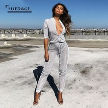 1e6a8b09b09b Fuedage Sequin Jumpsuits For Women 2018 Solid Silver Bodycon Zipper Lace Up  Playsuit. US  19.00   piece Free Shipping
