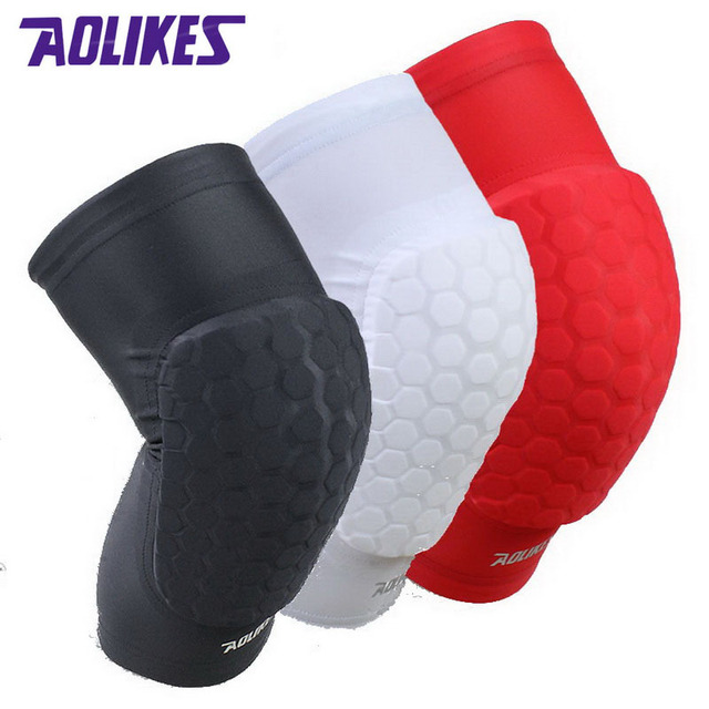 a9753e05a1 AOLIKES 1 Pair Hex Sponge Protective Knee Pads Basketball Leg Sleeves  Compression Knee Braces Kneepads Sports Safety A-66