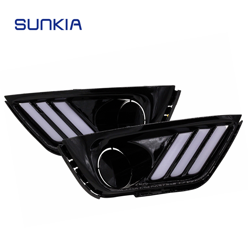 Car Light Assembly Sunny Sunkia New Drl 2pcs/set Led Daytime Running Light For Jeep Compass With Flowing Yellow Turnning Signal Fit Fog Lamp Halo To Enjoy High Reputation In The International Market
