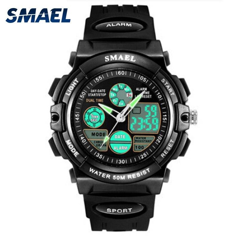 Children Watches SMAEL Brand 50M Waterproor Chronograph Auto Date Fashion Digital Children's Watches Dual Display 0508L/0704S