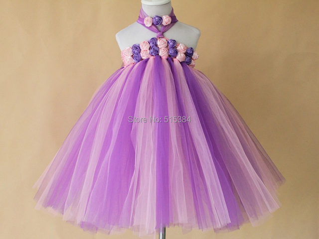 High Quality Handmade Diy Baby Girls Tutu Dress Gift Summer Flower Party Pink Plum Tulle Free Shipping