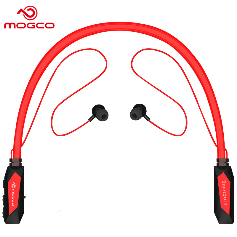 MOGCO Wireless Bluetooth 4.1 Sports Earphone Stereo Super Bass Built-in Mic Earphone Neckband Active Noise-Cancellation Earbuds