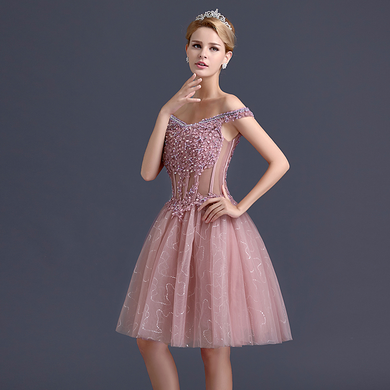 Semi Formal Cocktail Dresses With Beading Applique Boat Neck Off ...