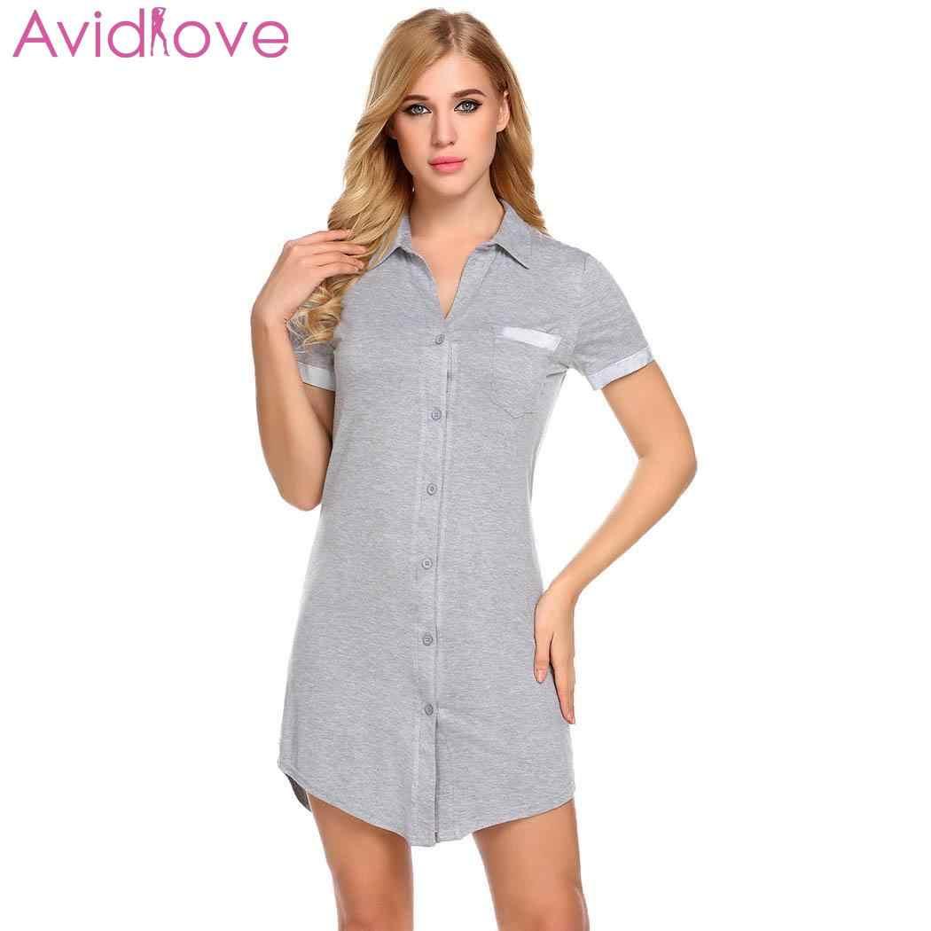 c5705a638680 Avidlove летняя одежда для сна для женщин Ночная рубашка пижамы Сексуальная  рукавом ...