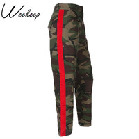 Weekeep Fashion High Waist Camouflage Pants Women Patchwork Pockets Cotton Cargo Jeans Trousers Women Sweatpants Camo