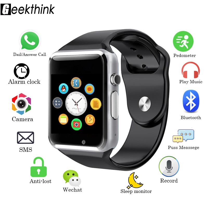 Geekthink New Bluetooth Smart Watch Sync Notifier Support SIM TF Connectivity for Apple iphone Android Phone Camera Smartwatch zeallion smart watch gw01 clock sync notifier support bluetooth 4 0 connectivity for iphone android ios phone smartwatch