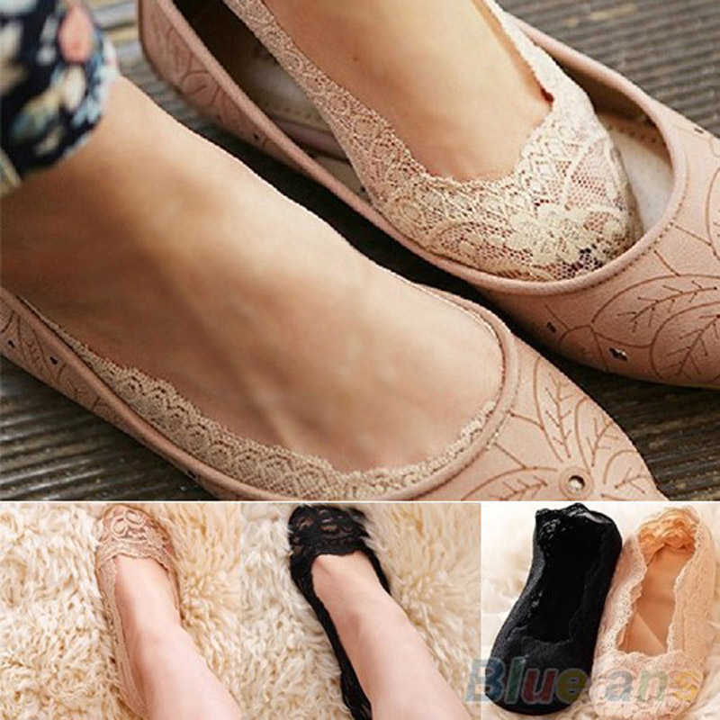 Lace Invisible Socks Rubbers Anti Slip Boat Socks New Women Ladies Cotton No Show Short Socks Slipper Liner Low Cut Sock Summer