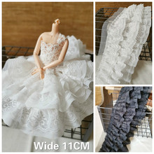 11CM Wide White Black Luxury Three Layers Cotton Lace Flowers Embroidered Fabric Ribbon Ruffle Trim DIY For Dress Clothes Sewing eyelet embroidered ruffle trim dress