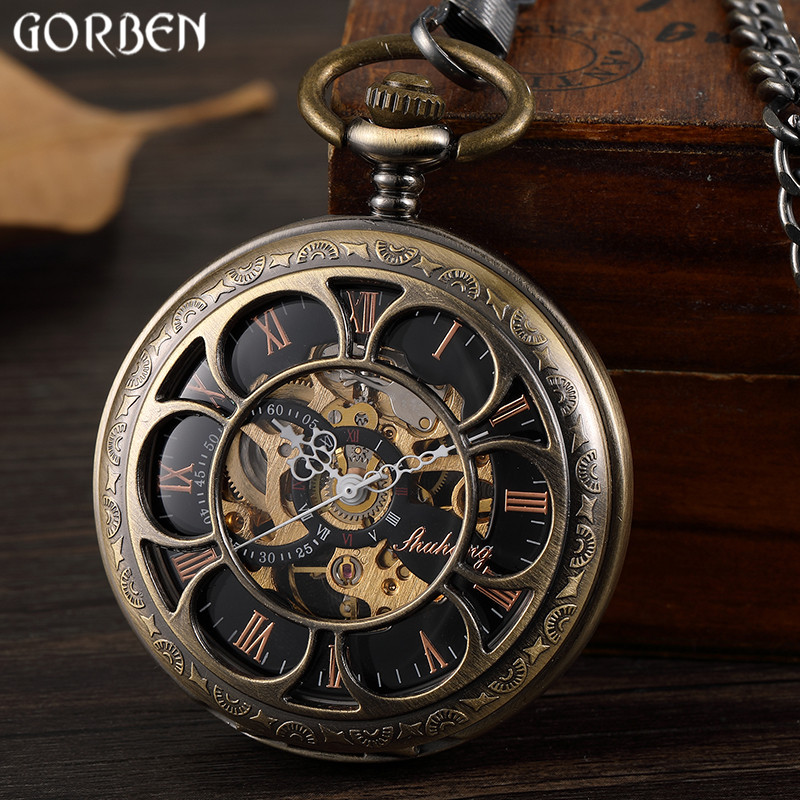 Retro Bronze Hollow Setampunk Mechanical Pocket Watches Vintage Double-sided Skeleton Roman Dial Mens Pocket Watch FOB Chain New