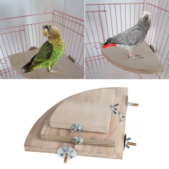 1Pc New Pet Bird Parrot Wood Platform Stand Rack Toy Hamster Branch Perches For Bird Cage Toys 3 Sizes Pet Supplies C42