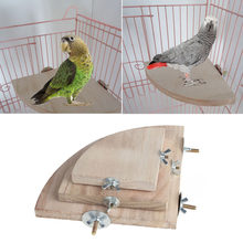 1Pc New Pet Bird Parrot Wood Platform Stand Rack Toy Hamster Branch Perches For Bird Cage Toys 3 Sizes Pet Supplies C42(China)