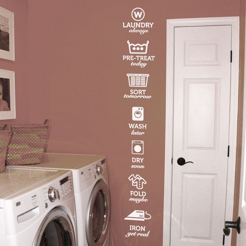 The rules of laundry decals laundry tag stickers pattern Wash Dry Fold Iron Laundry Room Vinyl Wall Quote Sticker Decal LW06 in Wall Stickers from Home Garden