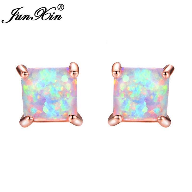 c8dd276a49ffb US $1.99 20% OFF|JUNXIN Green/Blue/White Fire Opal Stud Earrings For Women  Rose Gold Filled Square Earrings Princess Cut Birthstone Earring Gifts-in  ...