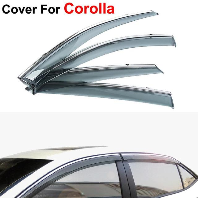 4pcs/lot Car-Styling Awnings Shelters Rain Sun Window Visor For Toyota Corolla 2014 2015 Stickers Covers Accessories Shield