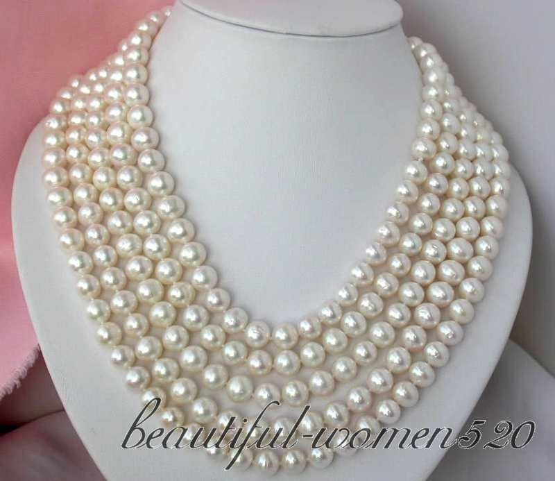 Z2725 100% REAL 100 10mm round white freshwater pearl necklace цена
