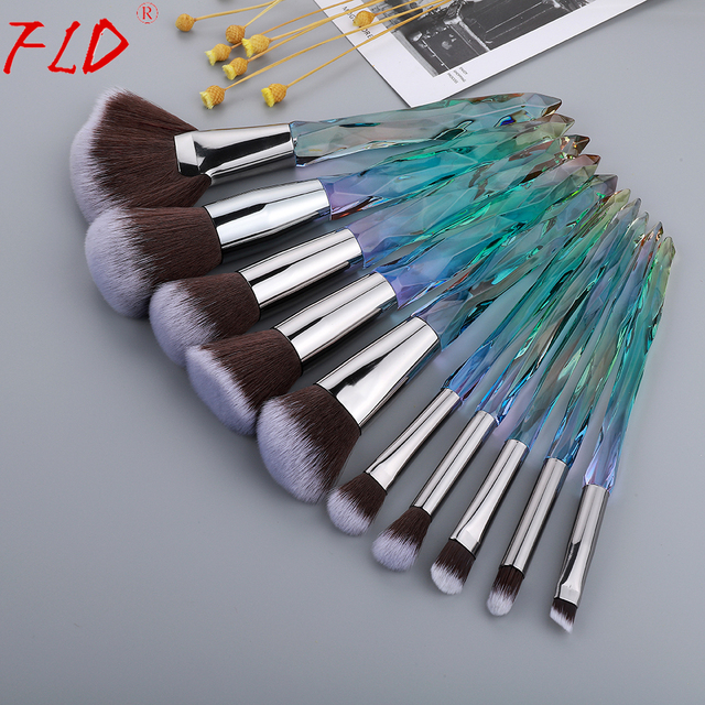 FLD 10Pcs Crystal Makeup Brushes Set Powder Foundation Fan Brush Eye Shadow Eyebrow Professional Blush Makeup Brush Tools 4