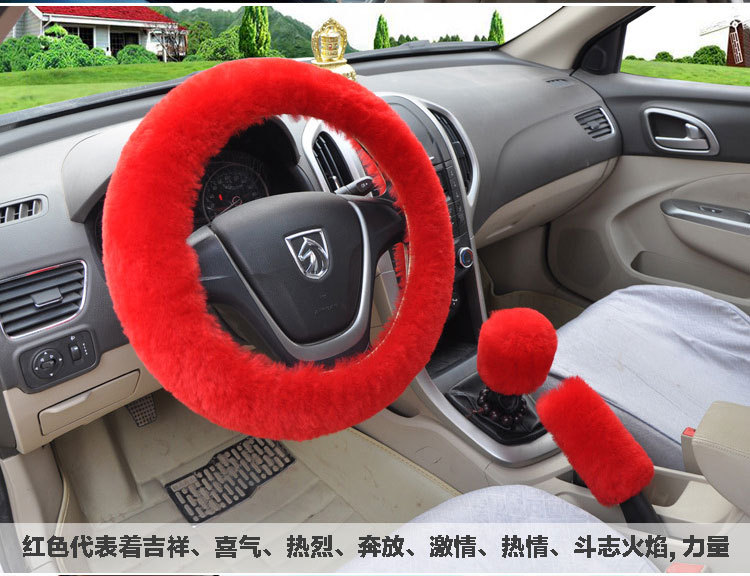 Winter Warm Steering Wheel Cover Handbrake Cover Lady Modificate Gear Shift Cover Universal 3PCS Red Purple Pink Beige Black